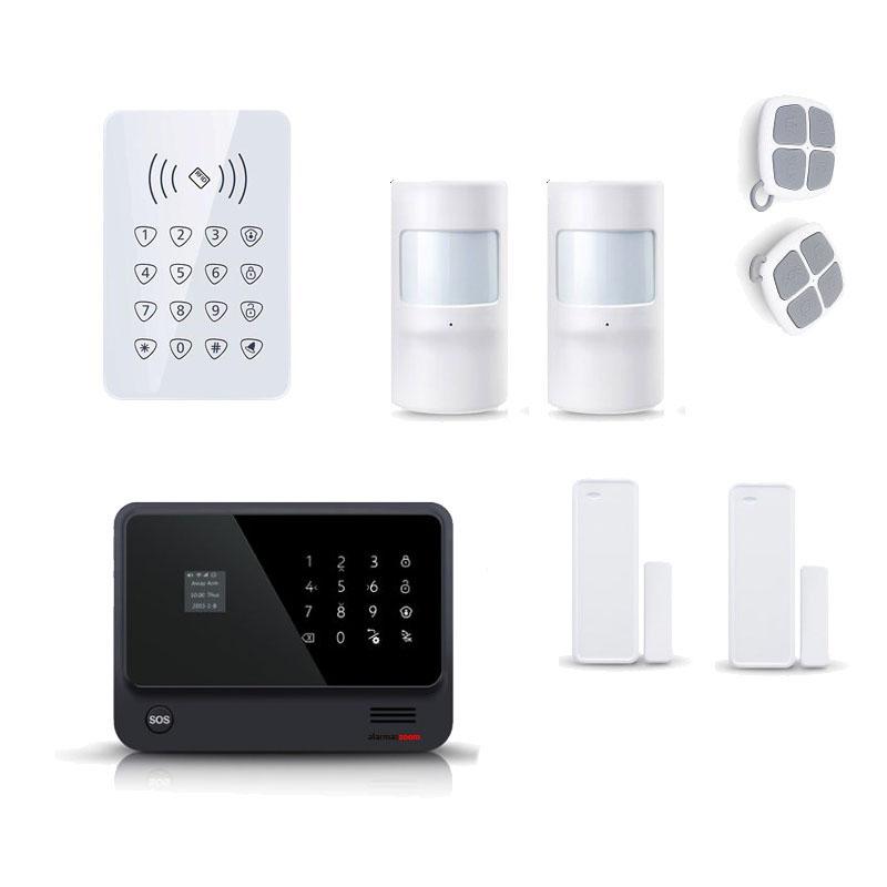 alarmas-zoom AZ019 G90B PLUS 11 KIT 11 ALARMA WiFi G90B Plus con teclado control acceso y 2 sensores de movimiento y puertas