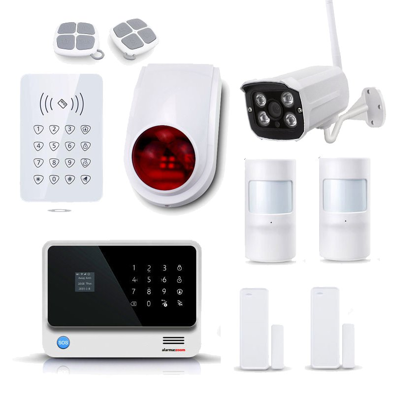 Kit Alarma Hogar WiFi AZ019 Blanca Teclado Control Acceso Sirena Camara IP Exterior