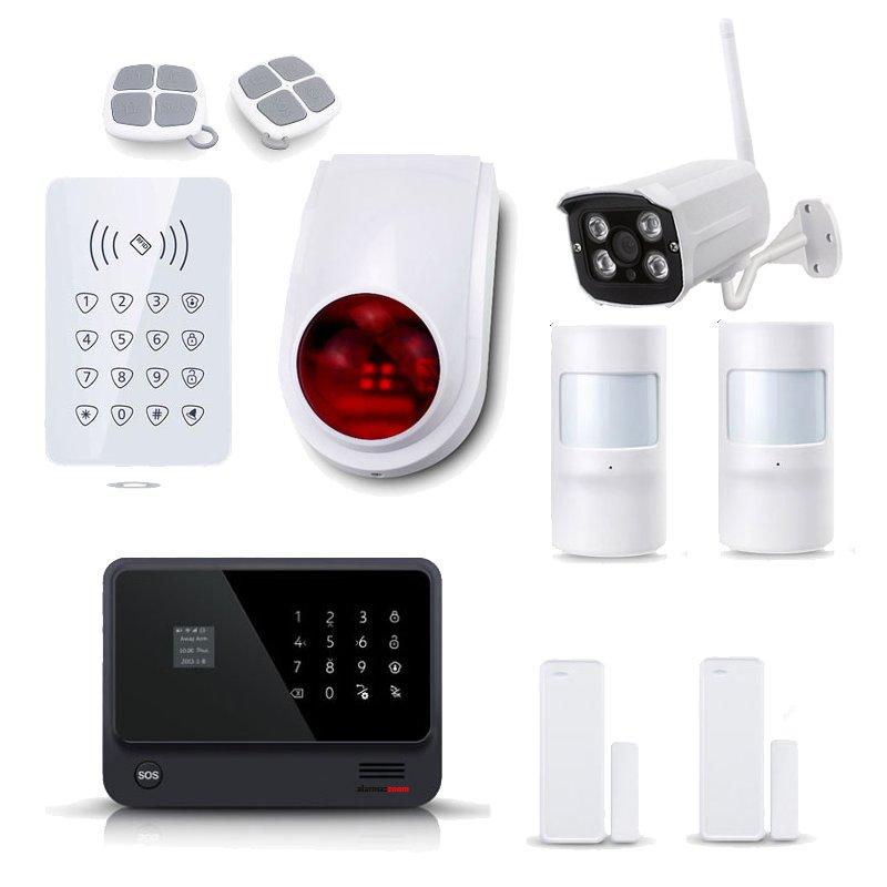 Kit Alarma Hogar WiFi AZ019 Negra Teclado Control Acceso Sirena Camara IP Exterior