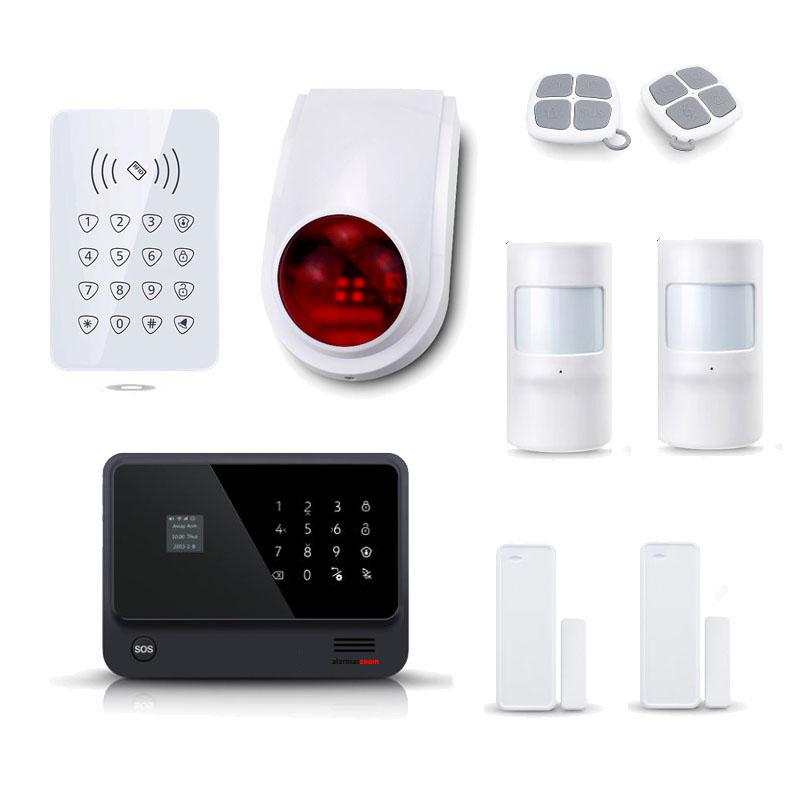 alarmas-zoom AZ019 G90B PLUS 12 KIT 12 ALARMA WiFi G90B Plus con teclado control acceso, sirena y 2 sensores de movimiento y puertas