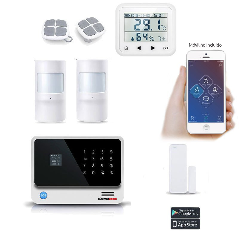 Kit Alarma Hogar AZ019 WiFi Blanca Detector temperatura Humedad