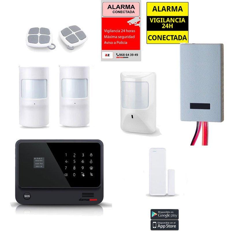 Kit Alarma Hogar WiFi AZ019 Negra Sensores cableados Detector inhibidor senal
