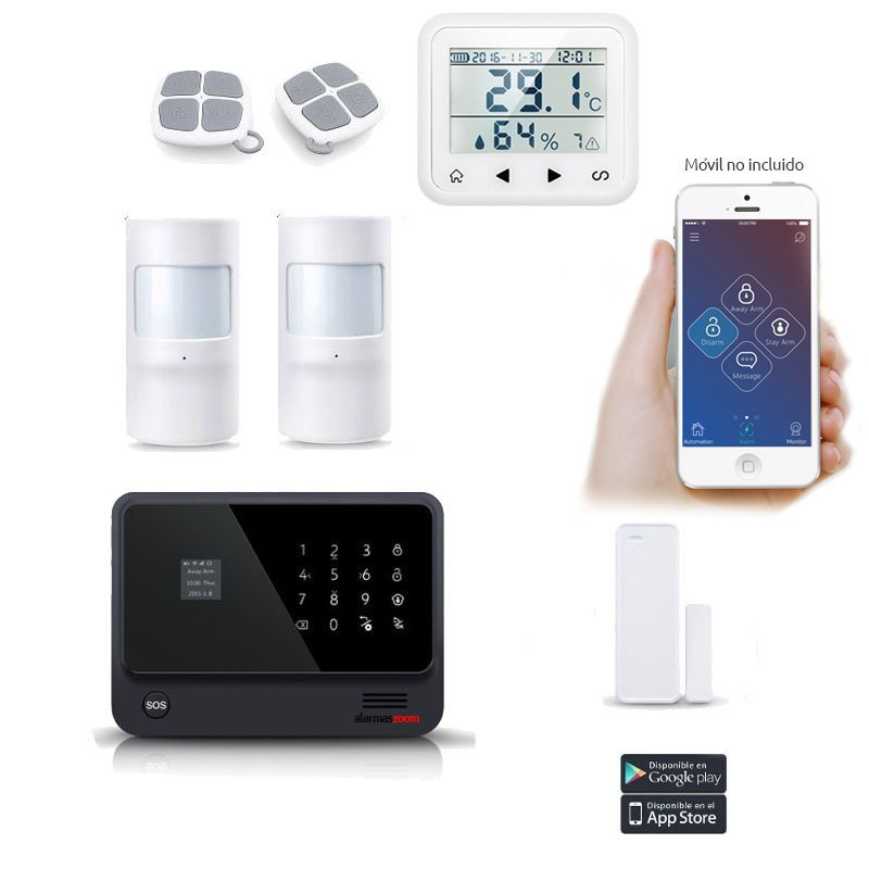 Kit Alarma Hogar AZ019 WiFi Negra Detector temperatura Humedad