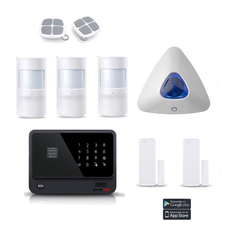 alarmas-zoom AZ019 G90B PLUS 17 KIT 17 ALARMA WiFi G90B Plus con sirena y tres detectores de movimiento