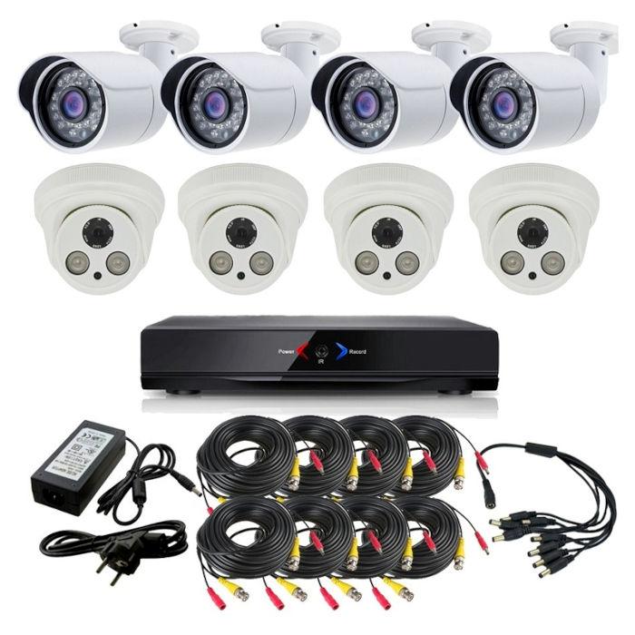 CAMARAS DE SEGURIDAD CCTV OTROS KIT 11 CON DVR GRABADOR 4 CAMARAS INTERIOR Y 4 EXTERIOR