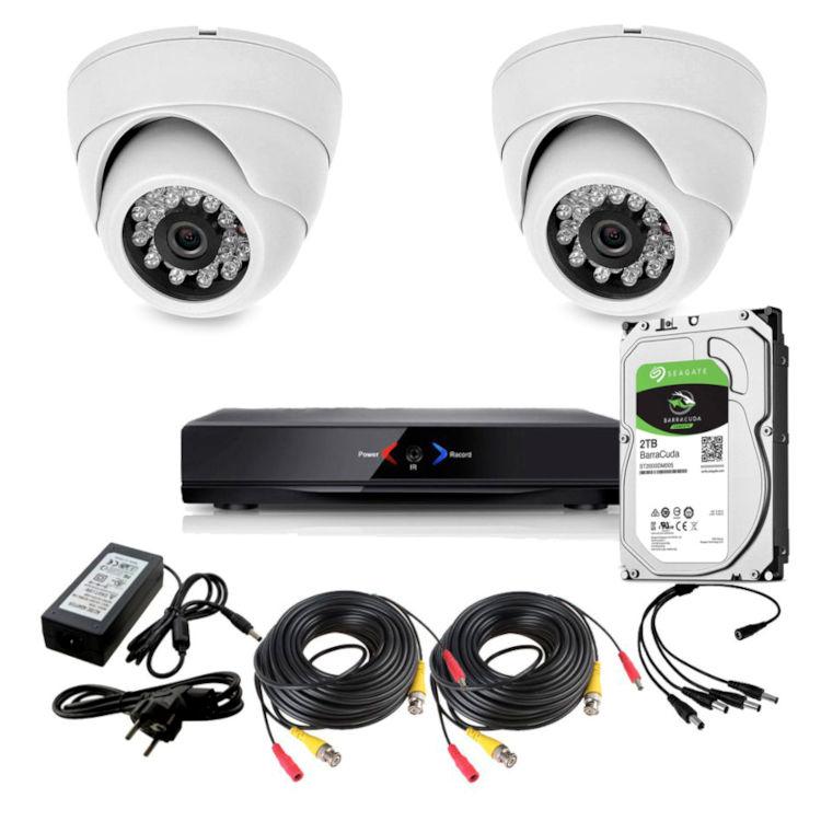 CCTV Grabador DVR AHDK022 2 Camaras interior domo HD Disco Duro 1Tb