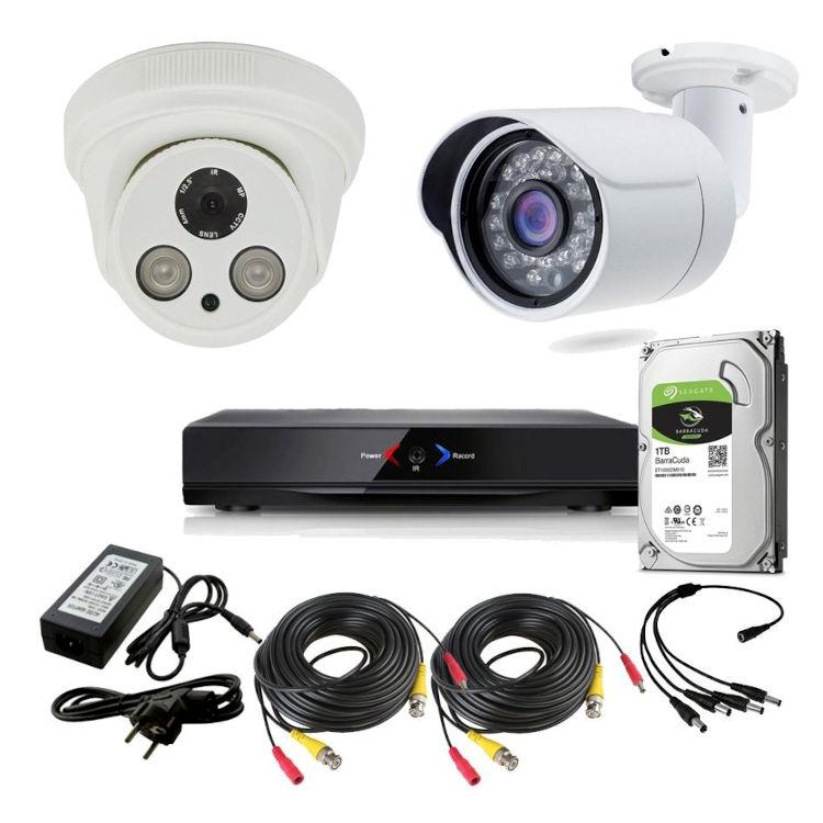 CAMARAS DE SEGURIDAD CCTV OTROS KIT 3 CON DVR GRABADOR 2 CAMARAS  1TB