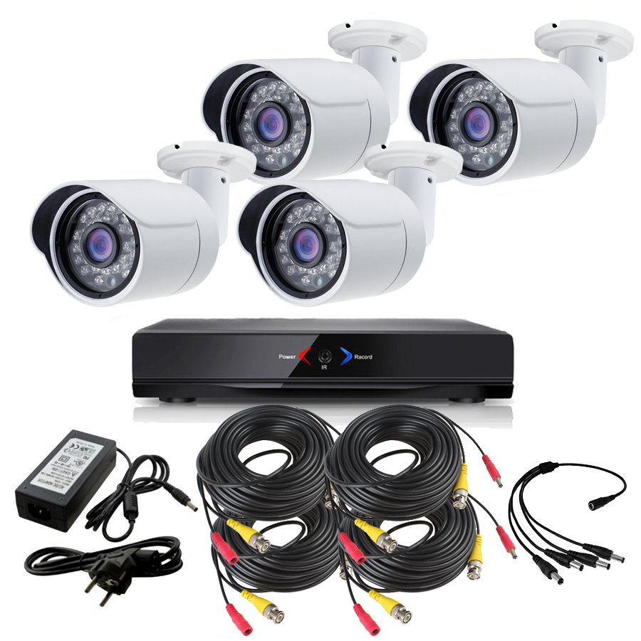 CAMARAS DE SEGURIDAD CCTV OTROS KIT 5 CON DVR GRABADOR 4 CAMARAS EXTERIOR