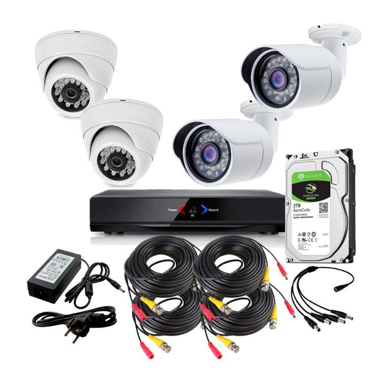 CAMARAS DE SEGURIDAD CCTV OTROS KIT 7 CON DVR GRABADOR 2 CAMARAS EXTERIOR Y 2 DOMO 1TB