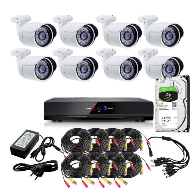 CCTV Grabador DVR AHDK011 8 Camaras exterior seguridad AHD101AL Disco Duro 1Tb