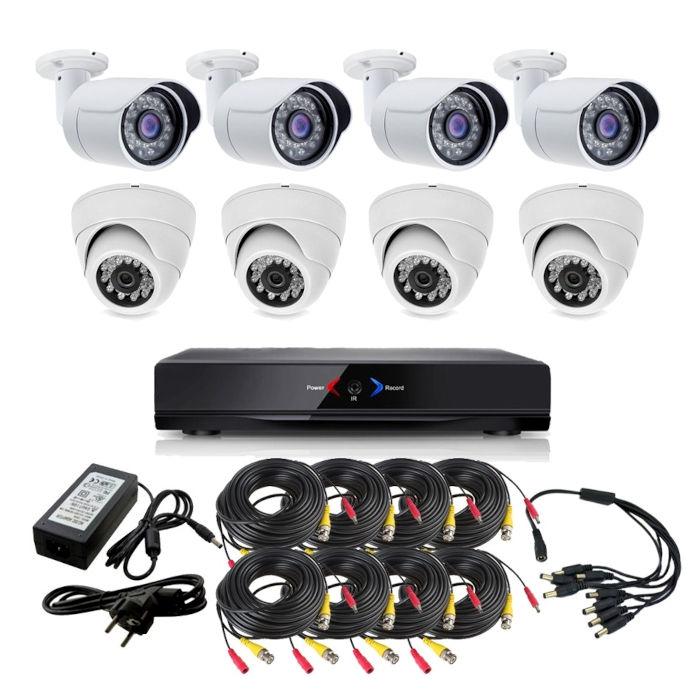 CCTV Grabador DVR AHDK014 4 camaras interior 4 exterior fijas HD 720p