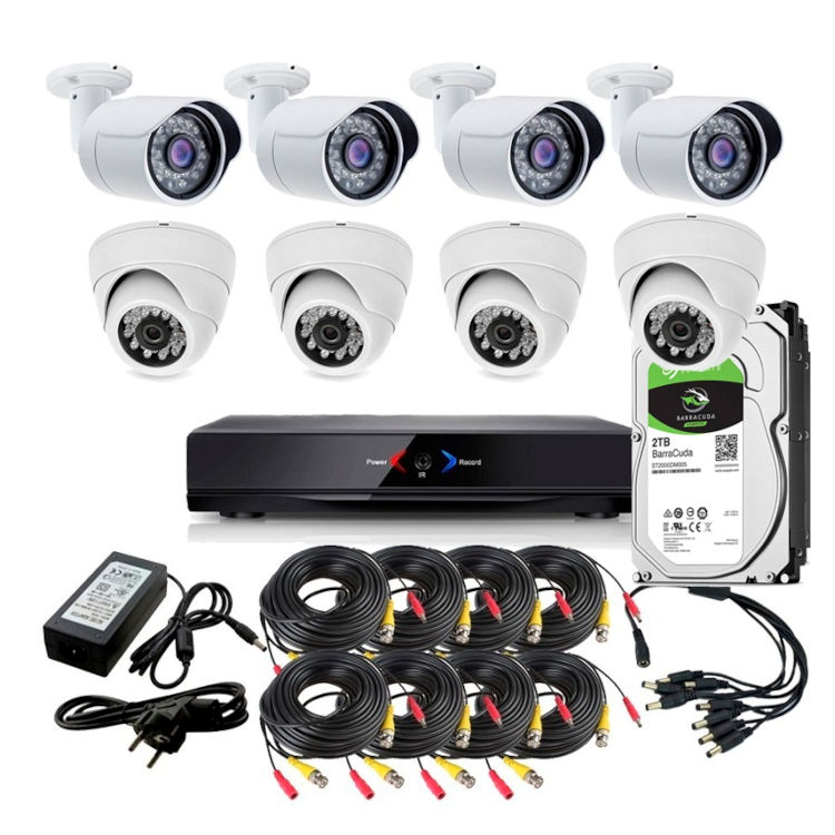 CCTV Grabador DVR AHDK015 4 camaras interior 4 exterior fijas HD 720p Disco Duro 1Tb