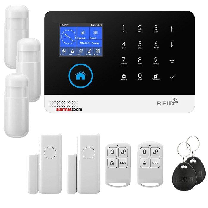 Alarma para casas WiFi GSM compatible camara IP lector RFID Negra Sin Cuotas AZ034 3 PIR