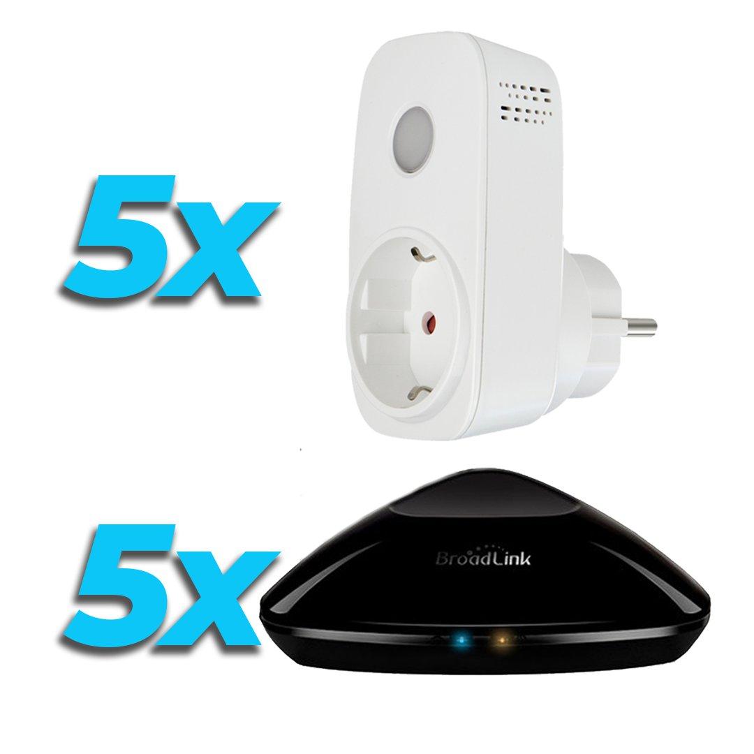 Broadlink Oferta Domotica 5 Mandos RM PRO con 5 Enchufes WiFi SP3