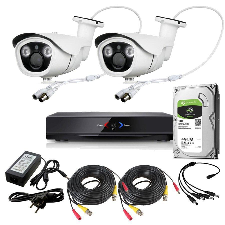 CCTV Grabador DVR AHDK038 2 Camaras Exterior Full HD 1080p Disco Duro 1Tb