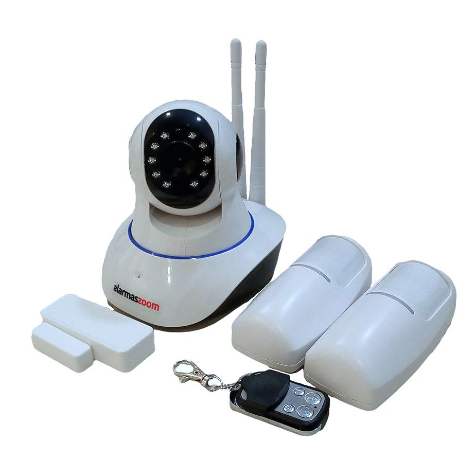Kit Alarma Yoosee G90 WiFi camara IP con mando distancia sensor apertura dos detectores movimiento