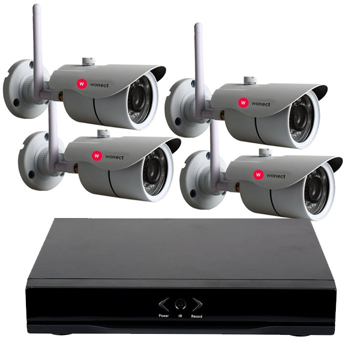 KIT Wonect 4 Camaras de seguridad IP Exterior W43 Grabador NVR