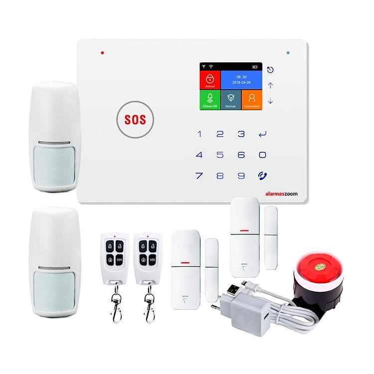 Kit Alarma AZ035 GSM WiFi con dos detectores de movimiento y apertura
