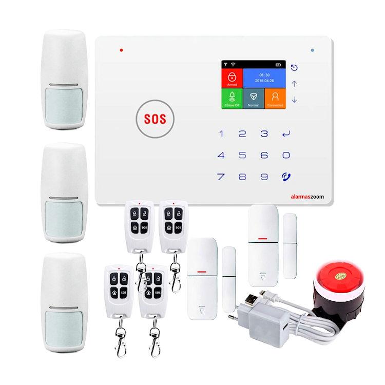 Kit Alarma AZ035 GSM WiFi con tres detectores de movimiento y apertura
