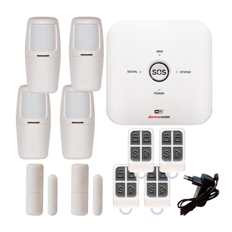 Kit alarma AZ038 WiFi GSM con 4 detectores movimiento interior