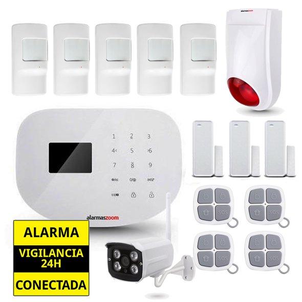Alarma Hogar WiFi AZ020 Camara IP externa Sirena exterior 5 Detectores movimiento 4 Remotos