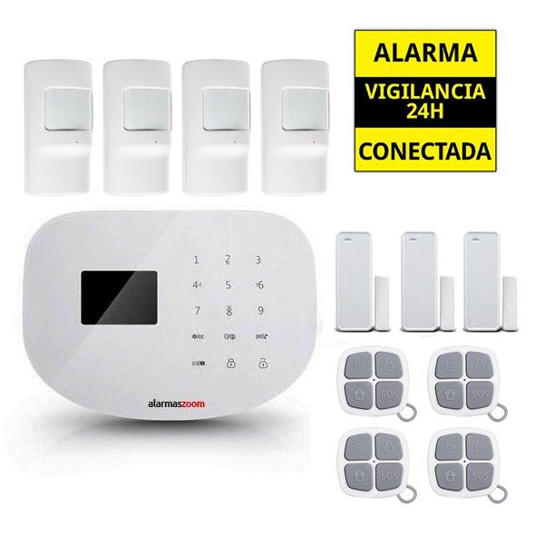 Alarma Hogar WiFi AZ020 4 Detectores de movimiento infrarrojos Sin Cuotas Aviso movil APP