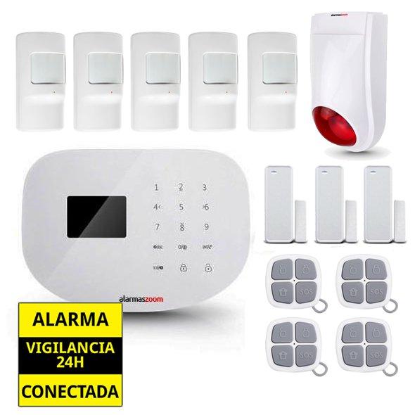 Alarma Hogar WiFi AZ020 Sirena exterior 5 Detectores movimiento 4 Mandos distancia