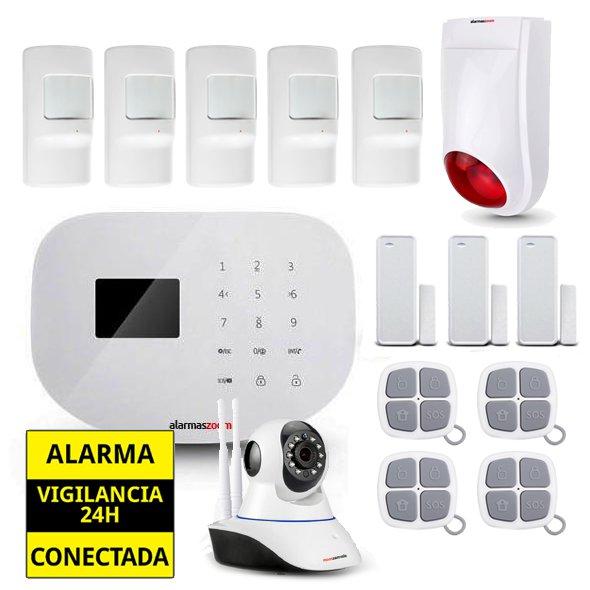 Alarma Hogar WiFi AZ020 Camara vigilancia Sirena exterior 5 Detectores movimiento 4 Remotos