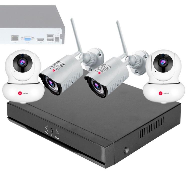 Wonect Kit Grabador NVR 2 Camaras IP exterior Interior WiFi