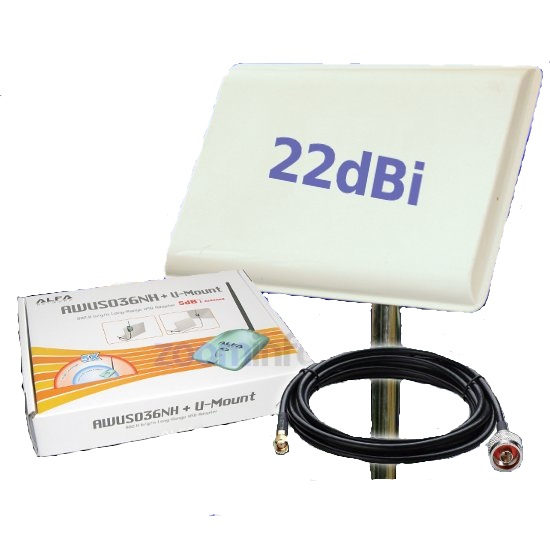 KITS WIFI ALFA NETWORK PANEL 22DBI AWUS036NH