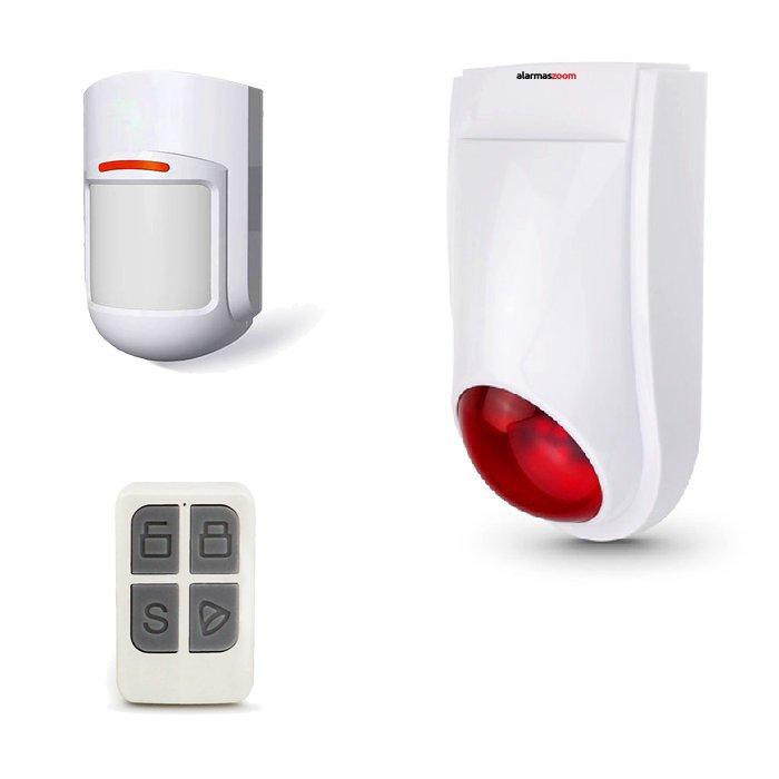 alarmas-zoom OFS03U 1 Sirena inalambrica luminosa OFS03U con detector de movimiento y mando de armado