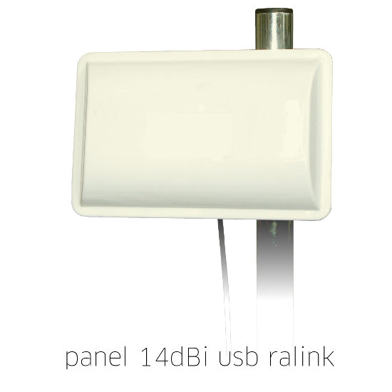 Antena WiFi Panel 14dBi USB Cable Activo 5 metros Ralink RT3070