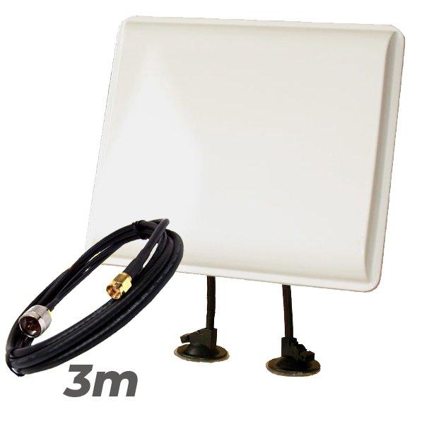 Antena WiFi Panel 19dBI Soporte Pigtail 3 metros RP SMA