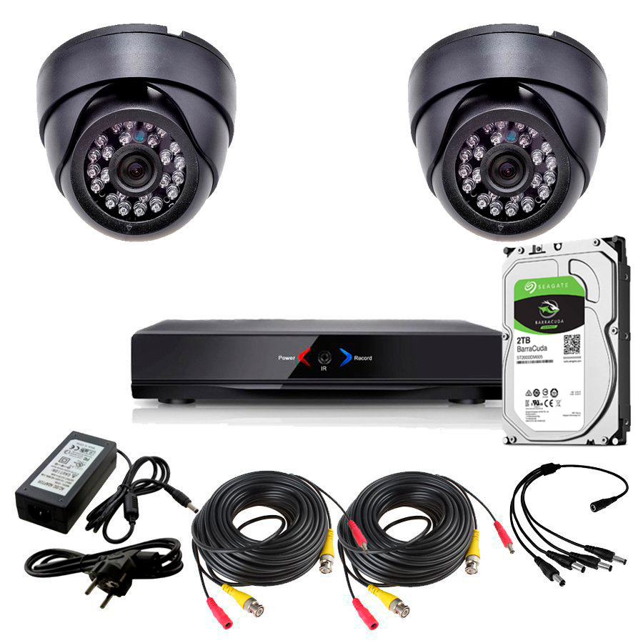 CCTV Grabador DVR AHDK041 2 Camaras interior domo techo color Negro 720p SATA 1Tb