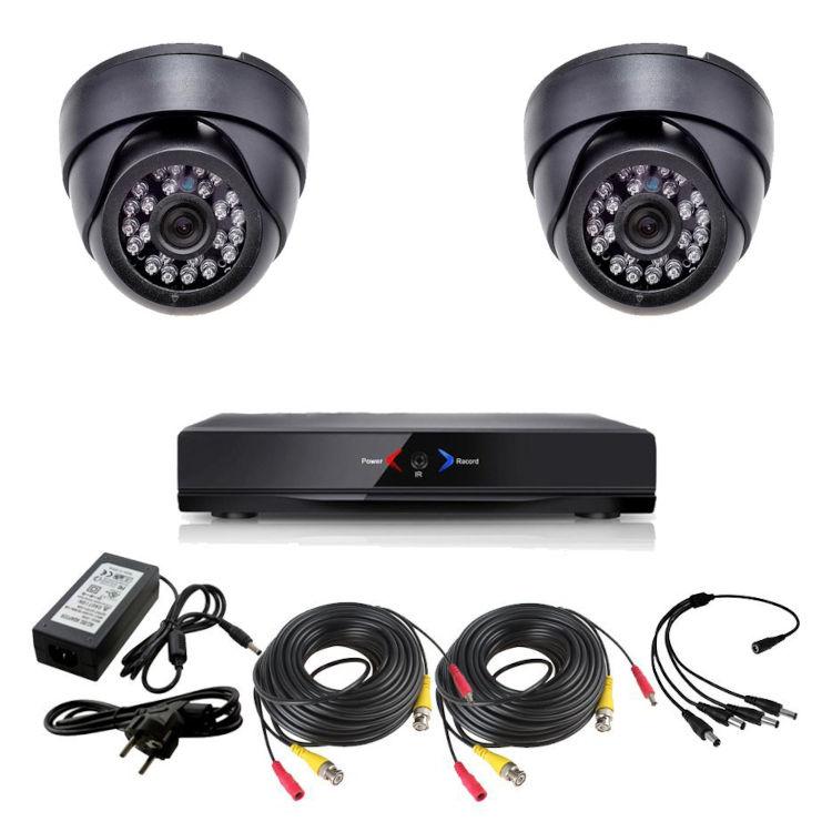 CCTV Grabador DVR AHDK040 2 Camaras interior domo techo color Negro 720p