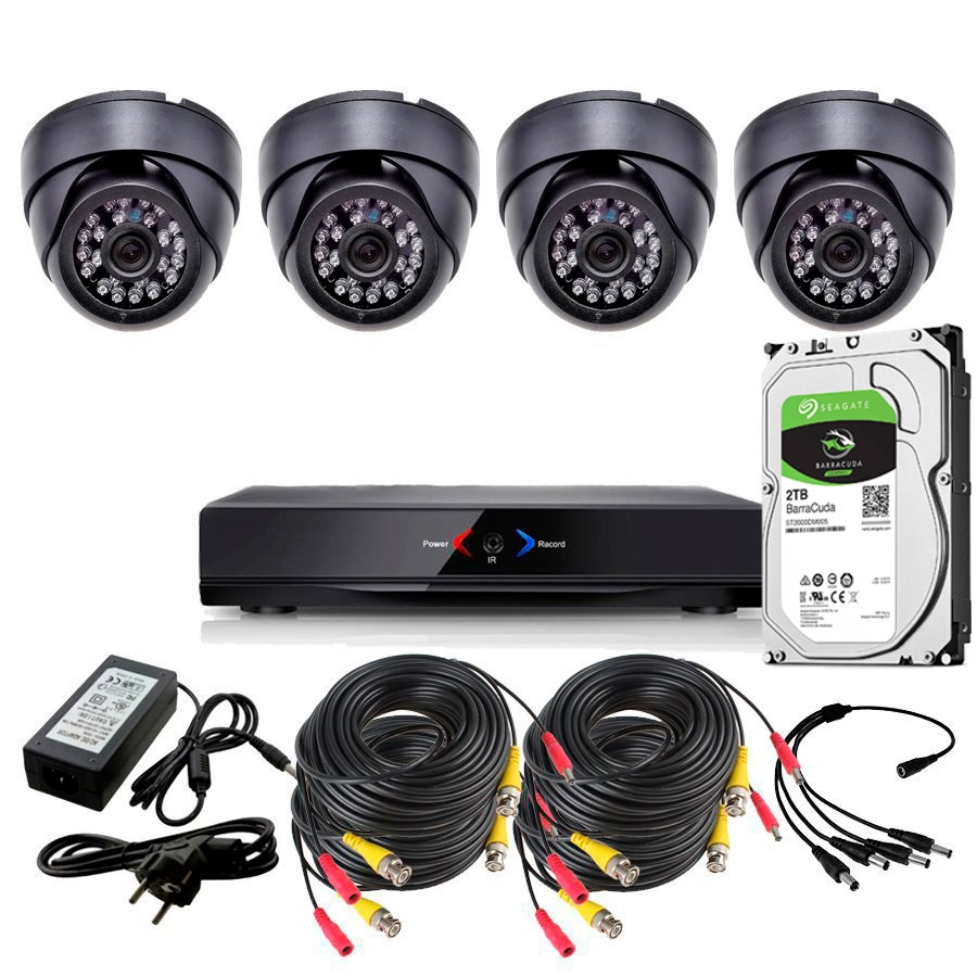 CCTV Grabador DVR AHDK043 4 Camaras interior domo techo color Negro 720p SATA 1Tb