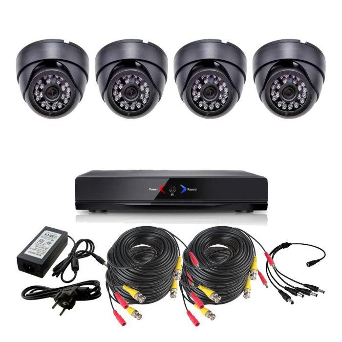 CCTV Grabador DVR AHDK042 4 Camaras interior domo techo color Negro 720p