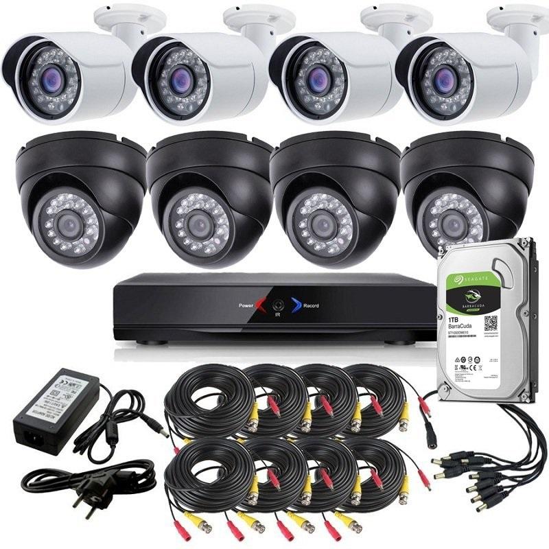 CCTV Grabador DVR AHDK045 4 Camaras interior domo techo Negro 4 Exterior 1Tb SATA