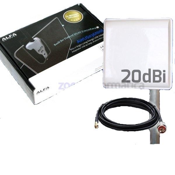 Alfa Network AWUS036NHR 20DBI AWUS036NHR 20DBI ALFA NETWORK ALFA USB WIFI 2000MW AWUS036NHR PANEL 20DBI wifislax KIT ANTENA EXTERIOR GRANDE