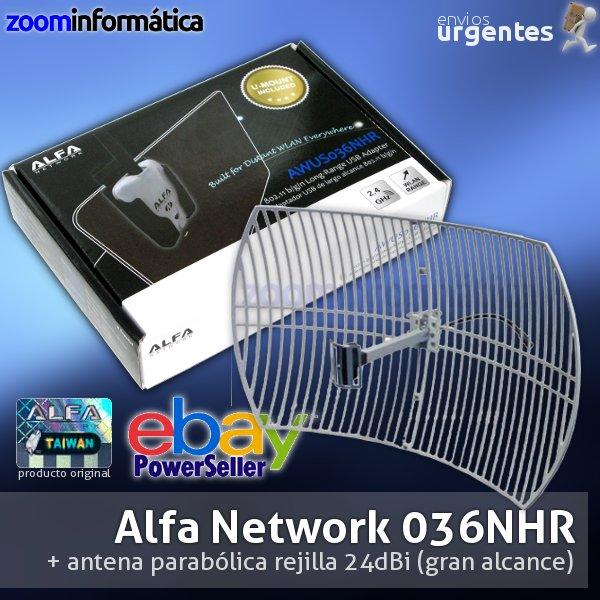 ALFA NETWORK AWUS036NHR 24DBI PARABOLICA AWUS036NHR ALFA 2000MW USB ANTENA PARABOLICA 24DBI 24DB KIT LARGA DISTANCIA GRAN