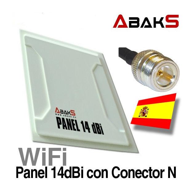 Abaks Panel 14dBi Antena WiFi Exterior Conector N Hembra