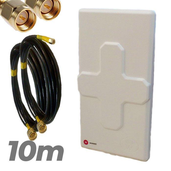 Antena 4G Wonect 50dBi Blanca Conectores N MiMo Multibanda Largo alcance Pigtail 10 metros