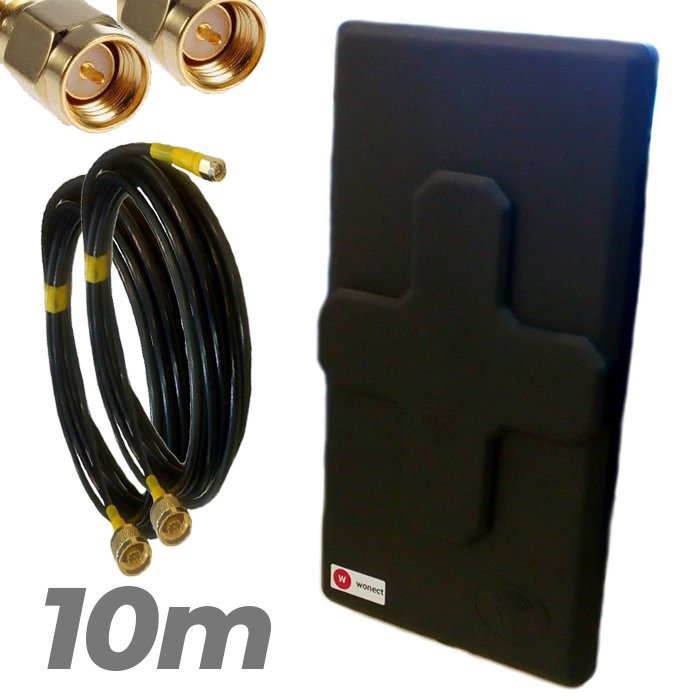 Antena 4G Wonect 50dBi Negra Conectores N MiMo Multibanda Largo alcance Pigtail 10 metros