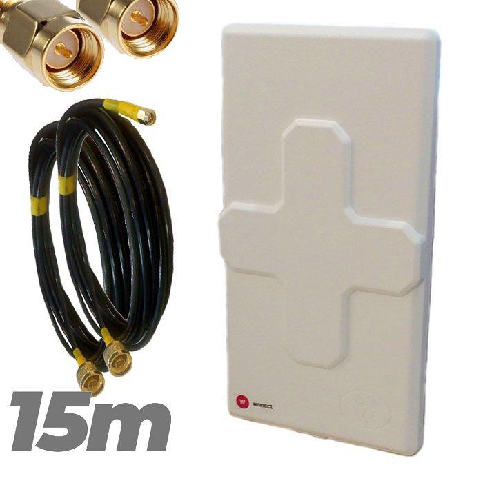 Antena 4G Wonect 50dBi Blanca Conectores N MiMo Multibanda Largo alcance Pigtail 15 metros