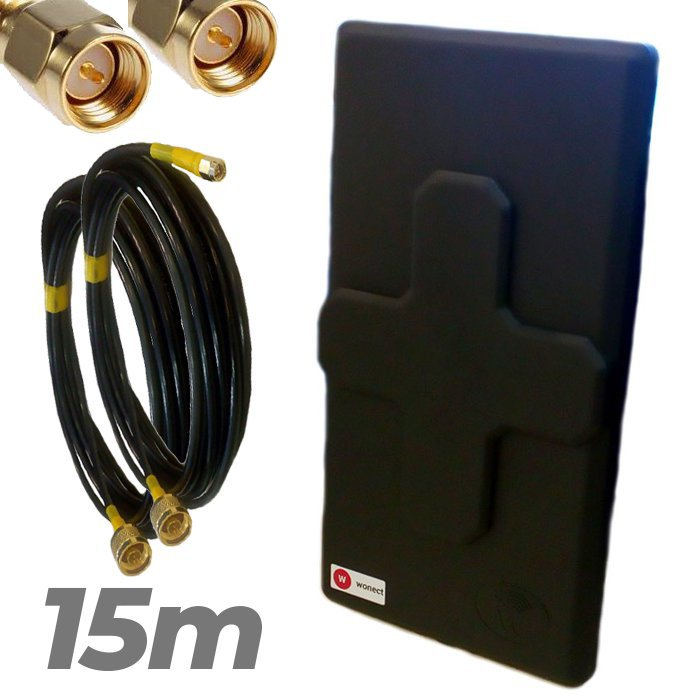 Antena 4G Wonect 50dBi Negra Conectores N MiMo Multibanda Largo alcance Pigtail 15 metros