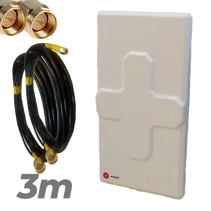 Antena 4G Wonect 50dBi Blanca Conectores N MiMo Multibanda Largo alcance Pigtail 3 metros