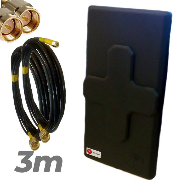 Antena 4G Wonect 50dBi Negra Conectores N MiMo Multibanda Largo alcance Pigtail 3 metros