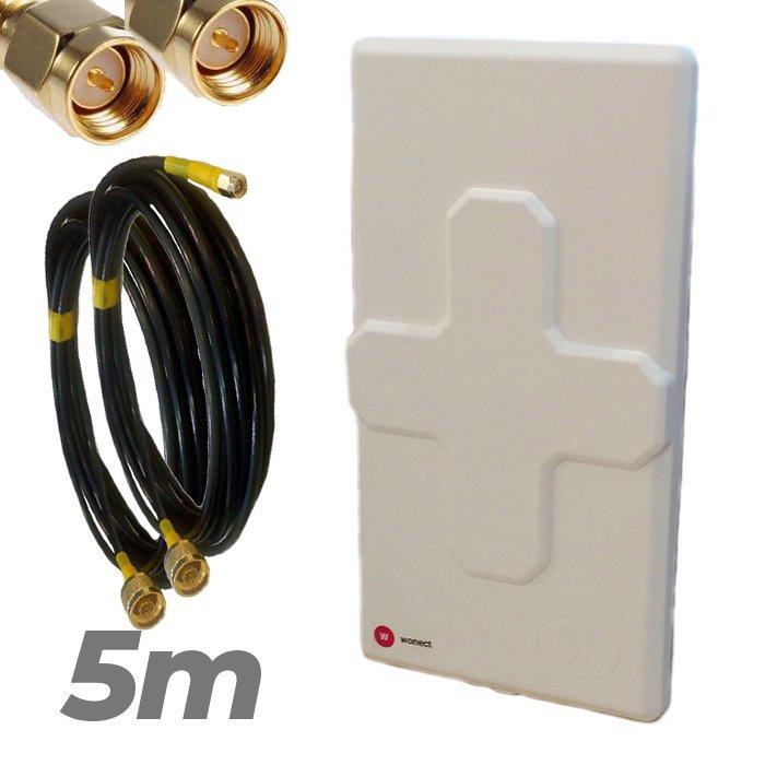 Antena 4G Wonect 50dBi Blanca Conectores N MiMo Multibanda Largo alcance Pigtail 5 metros