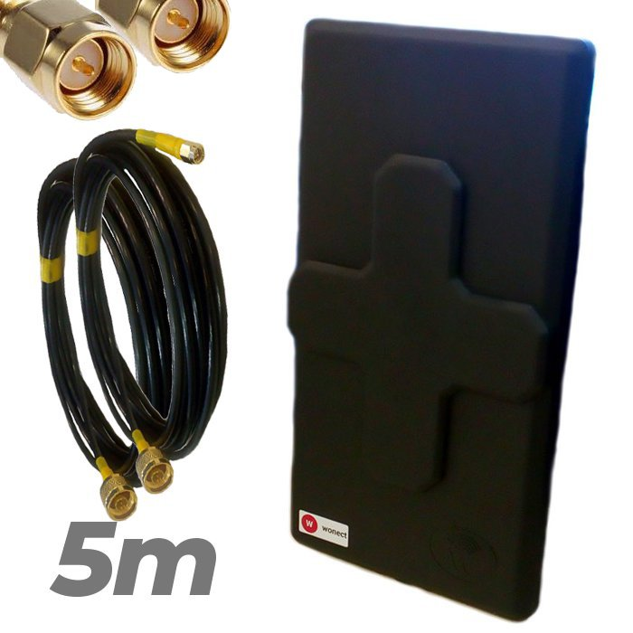 Antena 4G Wonect 50dBi Negra Conectores N MiMo Multibanda Largo alcance Pigtail 5 metros