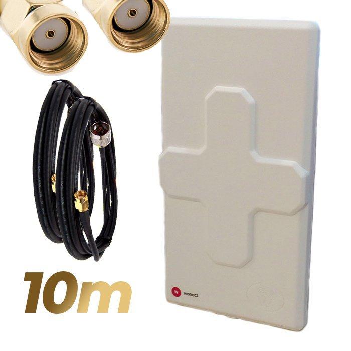 Antena WiFi Panel 50dBi Doble Salida Dual MiMo Alta potencia 10 metros cable Blanca Wonect